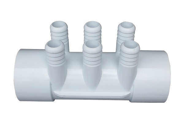"Spa And Pool PVC Plastic Water Manifold 2"" slip x 2"" slip x (6)  ,  Hot Tub Replacement Parts"